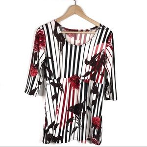 Flirty Pink Floral Striped Tunic Top